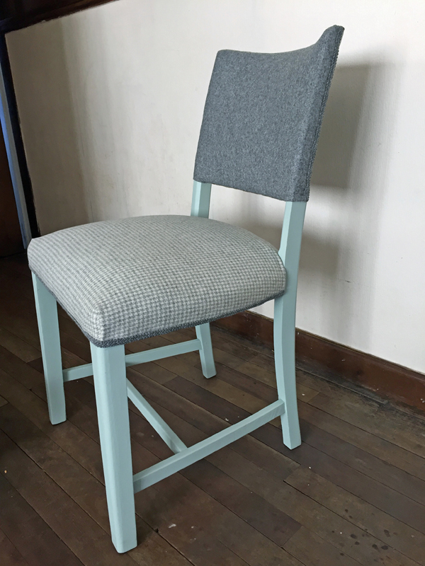 Mint Grey Gingham Chair